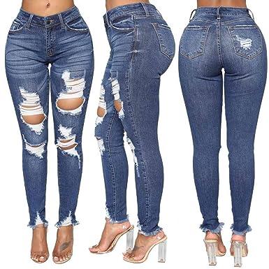 b97b83fe8cf05 Porlous 2019 Mode Femmes Jeans Denim Trou Femme Taille Haute Stretch Slim  Sexy Crayon Pantalon