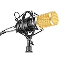Neewer® NW-800 Professional Studio Broadcasting & Recording Microphone Set Including (1)NW-800 Professional Condenser Microphone + (1)Microphone Shock Mount + (1)Ball-type Anti-wind Foam Cap + (1)Microphone Power Cable (Black)