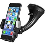 Windshield Car Mount Holder – Getron Universal Windshield Dashboard Cell Phone Cradle with One Click Release for iPhone Xs MAX XR X 8 SE Samsung Galaxy S9 Plus S8 Note 9 and Most Smartphones – Black