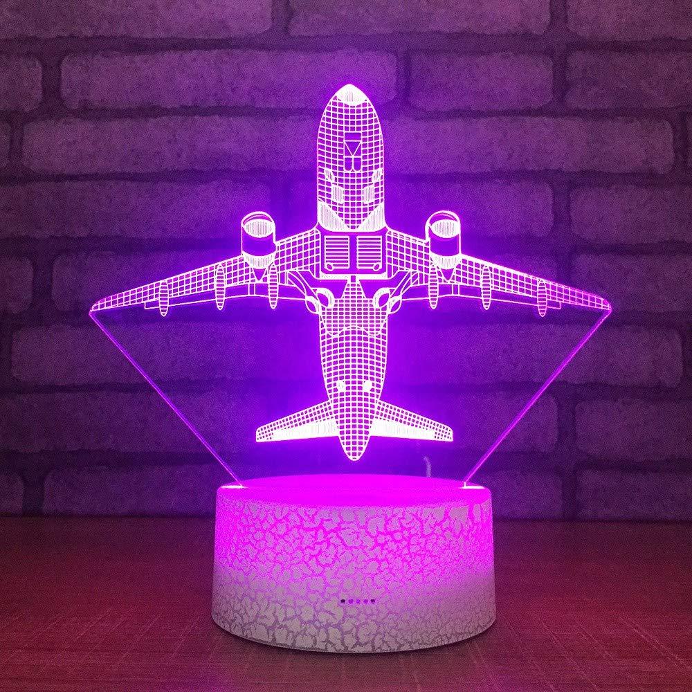 3 PACK, 3D optische Illusion Nachtlicht Flugzeug LED Tisch Schreibtischlampe 7 Farbe automatisch wechselnden USB-Ladegerät Powerotfor Baby Schlafzimmer Dekoration Kinder Geschenk