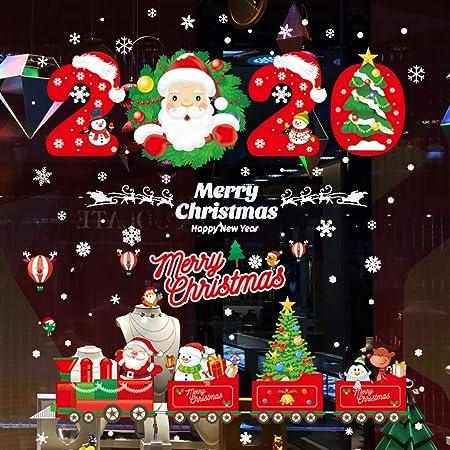 Tuopuda Natale Adesivi Albero di Natale Fiocco di Neve Adesivi Natale Vetrofanie Adesivi Murali Fai da te Finestra Stickers Rimovibile Statico Adesivi Wallpaper Multicolore