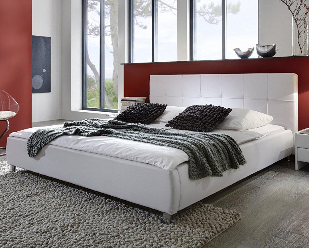 SAM® Polsterbett weiß 180x200 cm, Bett mit Chrom-farbenen Füßen ...