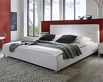 Bett weiss modern  SAM® Polsterbett weiß 180x200 cm, Bett mit Chrom-farbenen Füßen ...