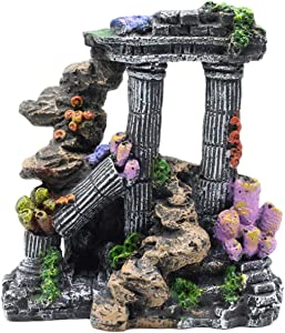 Tfwadmx Aquarium Decoration Roman Columns, Resin Betta Fish Tank Rock Cave Decor Hideout Ancient Ruins Aquarium Ornament for Fish Shrimp