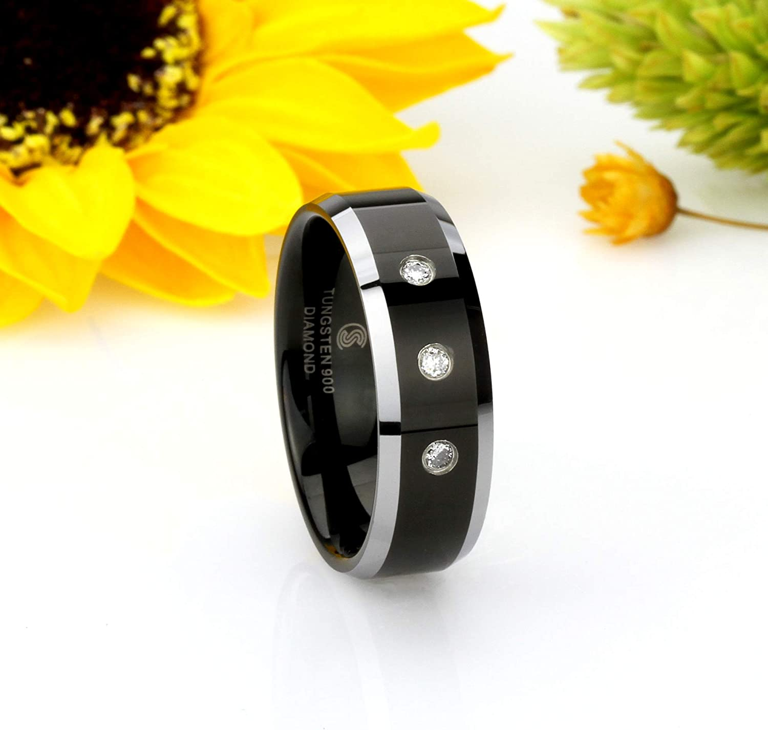Double Accent 8MM Comfort Fit Tungsten Carbide Wedding Band 0.17 cttw 3 Diamond Beveled Edges Black Ring 8 to 14