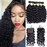 Maxine Water Wave Bundles With Closure Peruvian Water Wave Human Hair With Frontal Closure Natural Color Virgin Hair 3 Bundles With 4x4 Free Part Lace Closure