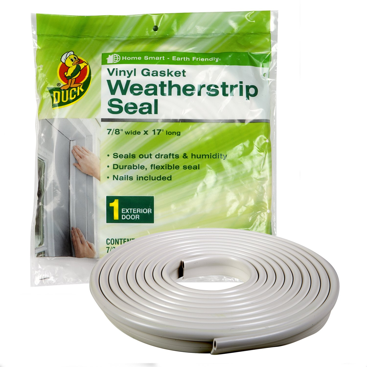 Duck Brand Vinyl Gasket Weatherstrip Seal, 1/4-Inch-by-7/8-Inch-by-17-Feet Gasket Weather Seal, 1280121