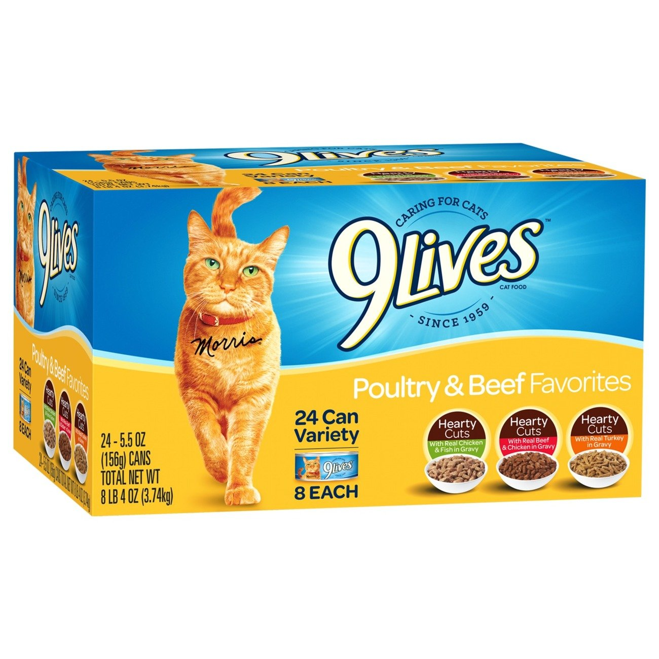 9 Lives Poultry And Beef Variety Pack, 5.5 Oz Cans, 24-Count by 9Lives