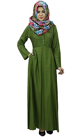aedab3c5940 Bimba Women s Long Sleeve Muslim Islamic Abayas Pleated Maxi Jilbab With  Hijab