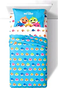 Baby Shark Bedding Twin Size 3 Piece Shark City Sheet Set for Boys and Girls - 100% Polyester and Super Soft - 1 Fitted Sheet, 1 Flat Sheet, and 1 Standard Size Pillowcase
