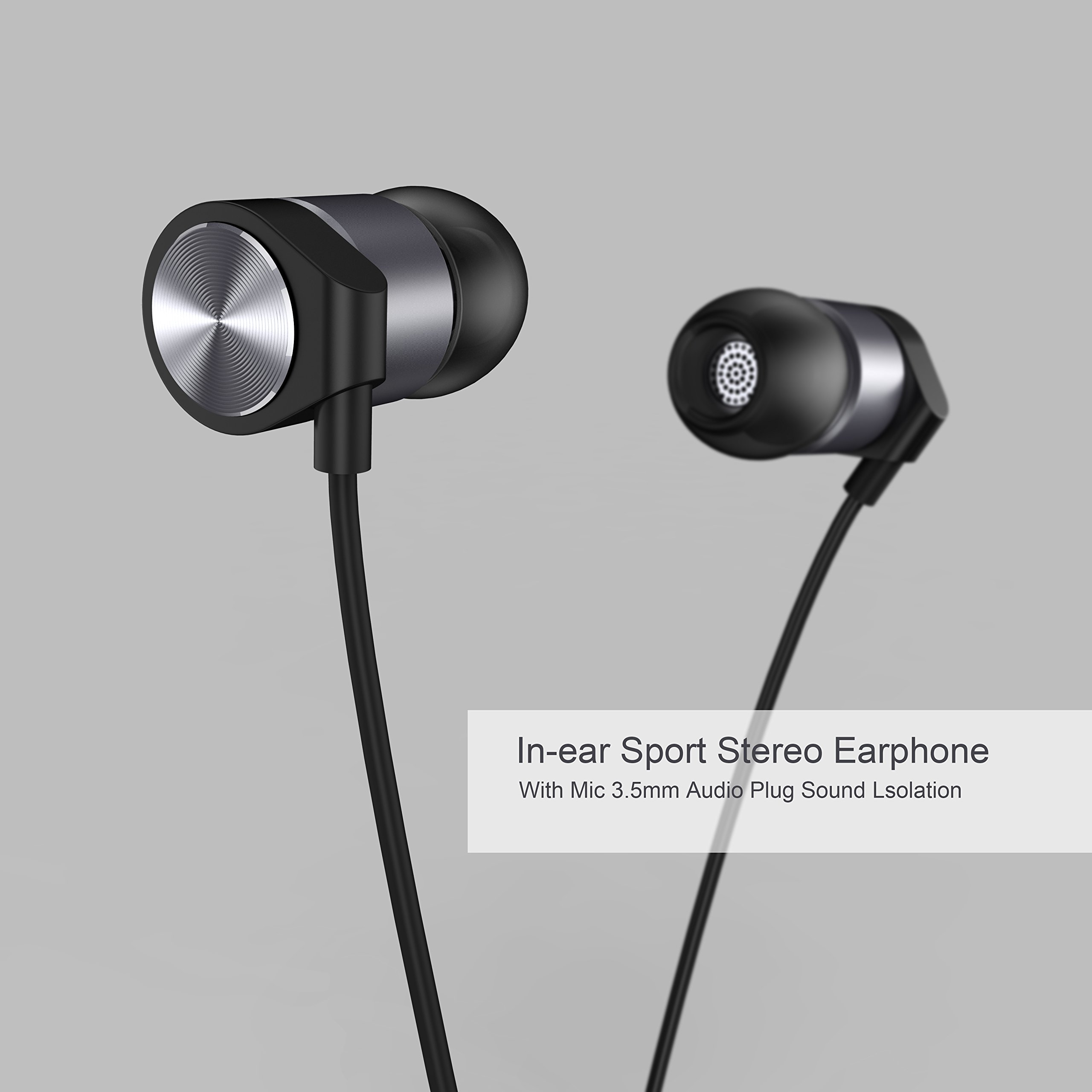 In Ear Headphones Maxtronic Metasonics Earbud with Line-in Microphone Heavy Bass Dynamic Driver Earphones with Non Tangle Fabric Braid For Running Gym iOS Android Phones Music Player iPhone by FEECHAGIER (Image #2)