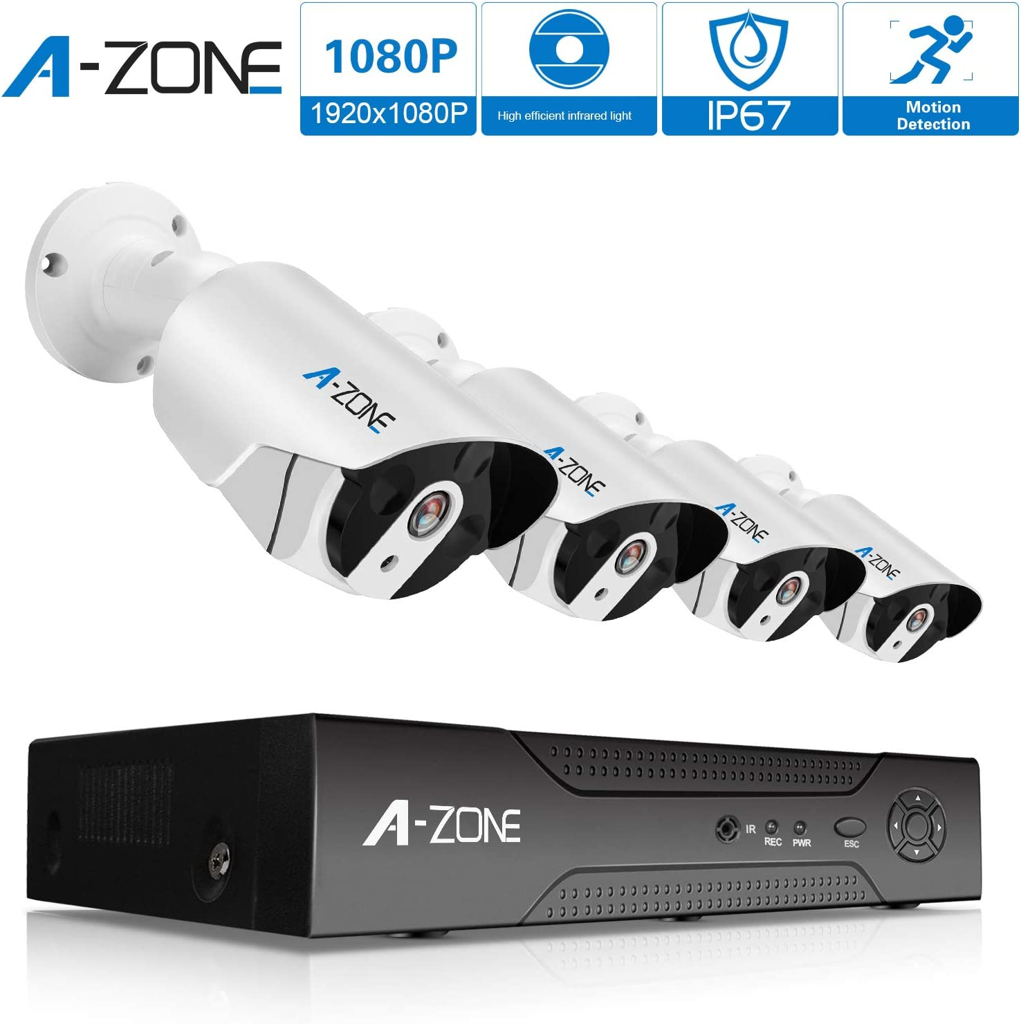 Security Camera System, A-ZONE Security 8ch 1080P NVR HD 1080P IP PoE Security Camera System with 4 Outdoor Indoor 3.6mm Fixed Lens 2MP 1080P Cameras, QR Code Easy Setup, Free Remote View-1TB HDD