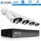 Security Camera System, A-ZONE 8 Channel NVR 4x1080P HD IP PoE Outdoor/