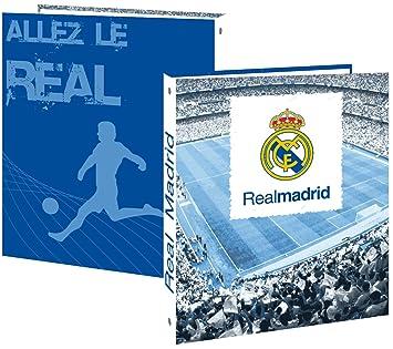 Real Madrid - Archivador (tamaño A4, 4 cm de grosor, 4 anillas, cartón plastificado), diseño del equipo de fútbol del Real Madrid: Amazon.es: Oficina y ...