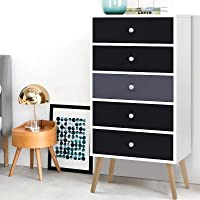 Artiss Chest of Drawers Wooden 5-Drawer Tallboy Dresser, Grey and White