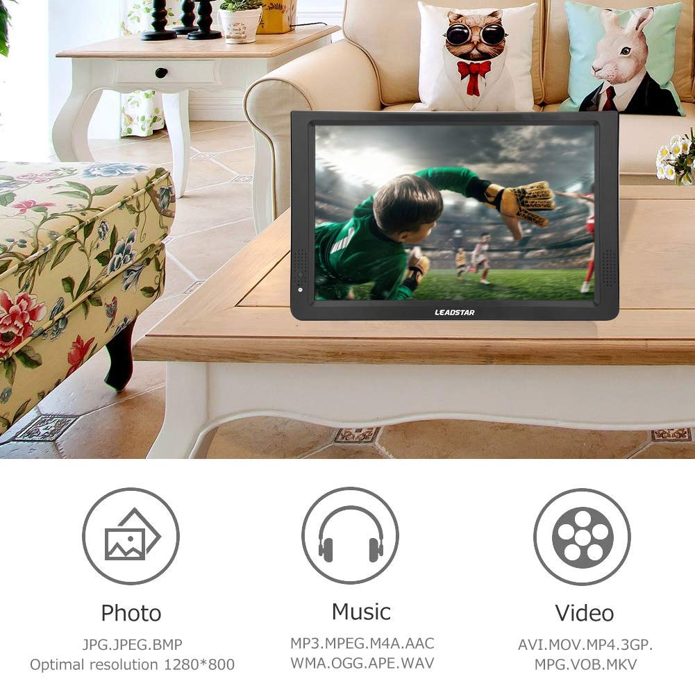 Noir 11,6 Pouces TV Portable Voiture. LED Petite T/él/évision avec TNT DVB-T // T2 Deux Haut-parleurs TV Num/érique avec 1500mah Batteries Rechargeables et T/él/écommande pour Chambre Cuisine Caravane
