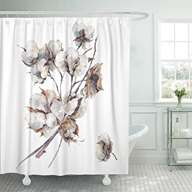 Emvency Shower Curtain Print 72x78 Watercolor Vintage Bouquet of Twigs and Cotton Flowers Botanical Illustrations For Bathroom