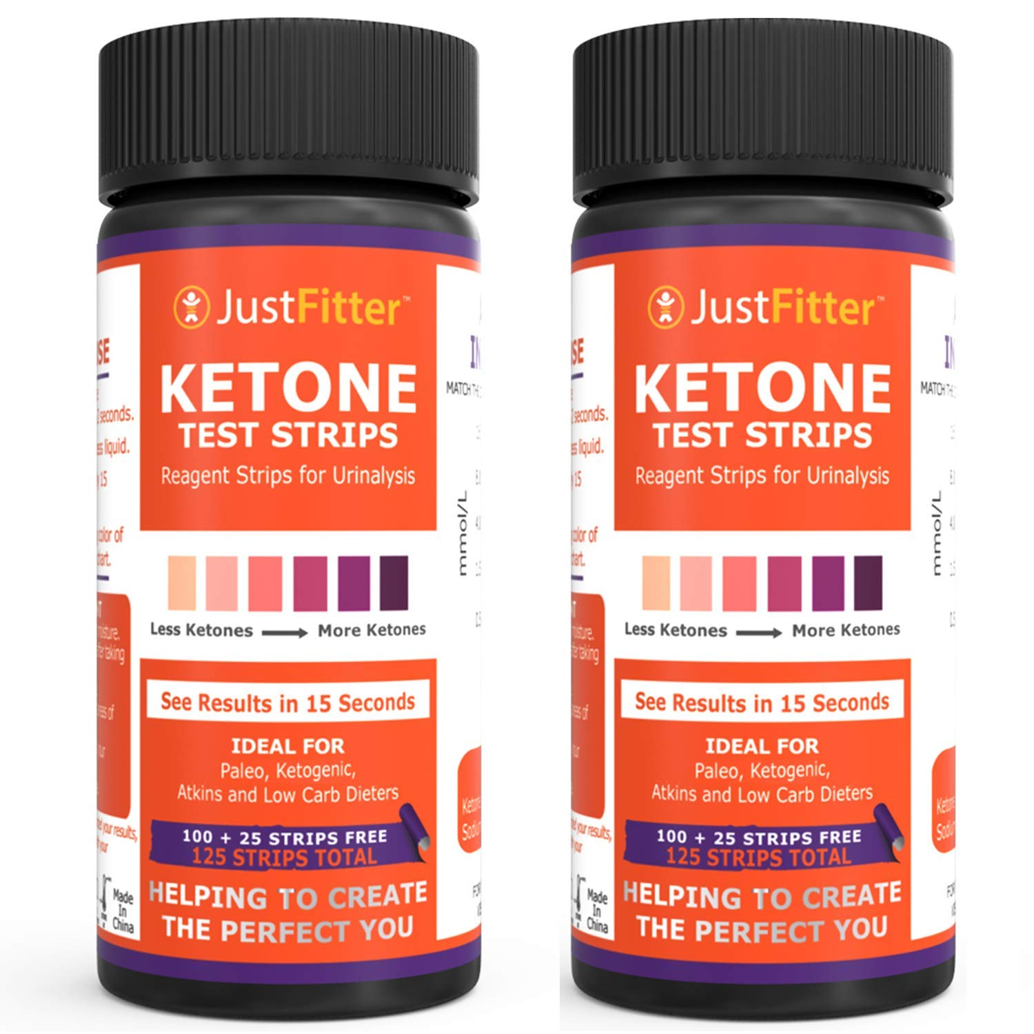 Ketone Keto Urine Test Strips. Lose Weight, Look & Feel Fabulous on a Low Carb Ketogenic or HCG Diet. Get Your Body Back! Accurately Measure Your Fat Burning Ketosis Levels (2 BOTTLES) by Just Fitter