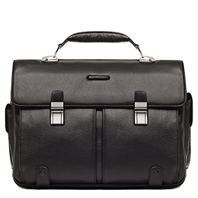 Piquadro Leather Briefcase 2 Gussets Exterior Pen Holder, Black, One Size