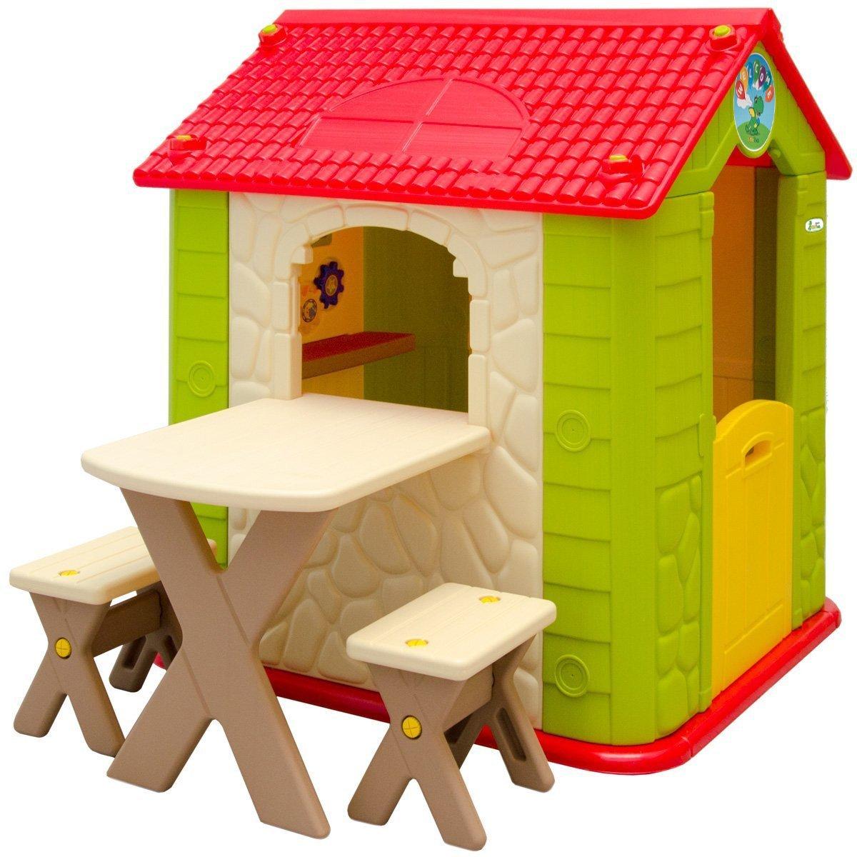 LittleTom Casa de Juegos para niños y niñas Incl 1 Mesa 2 taburetes Casita de plástico para Interiores y Exteriores Verde Beige: Amazon.es: Juguetes y ...