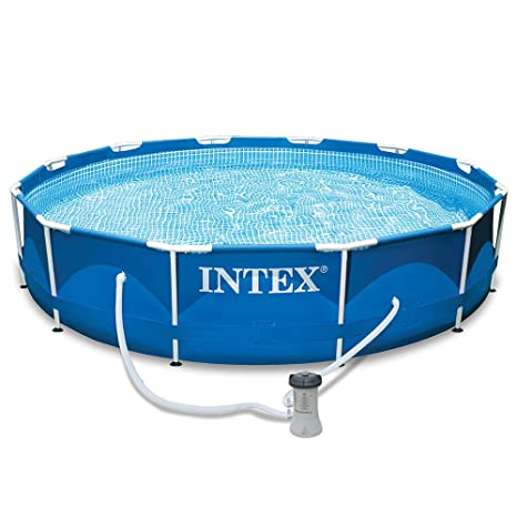 amazoncom intex 12ft x 30in metal frame pool set and cover bundle patio lawn garden