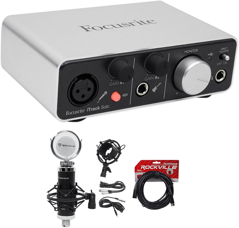 Focusrite ITRACK SOLO LIGHTNING USB Audio Recording Interface+Studio Mic+Cable