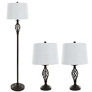 Table Lamps and Floor Lamp Set of 3, Spiral Cage Design (3 LED Bulbs included) by Lavish Home