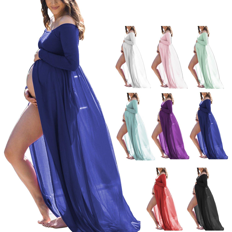 Women's Maternity Photography Dress Stretchy Long Sleeve Chiffon Split Front Photoshoot Baby Shower(Gem Blue,L)