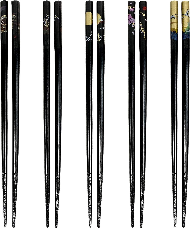 JapanBargain 3672, Bamboo Chopsticks Reusable Japanese Chinese Korean Wood Chop Sticks Hair Sticks 5 Pair Gift Set Dishwasher Safe, 9 inch, Black