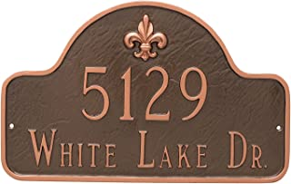 "product image for Montague Metal PCS-0062S2-W-WB 10.5"" x 15.75"" Fleur de Lis Lexington Arch Two Line Address Sign Plaque, Standard, White/Black"