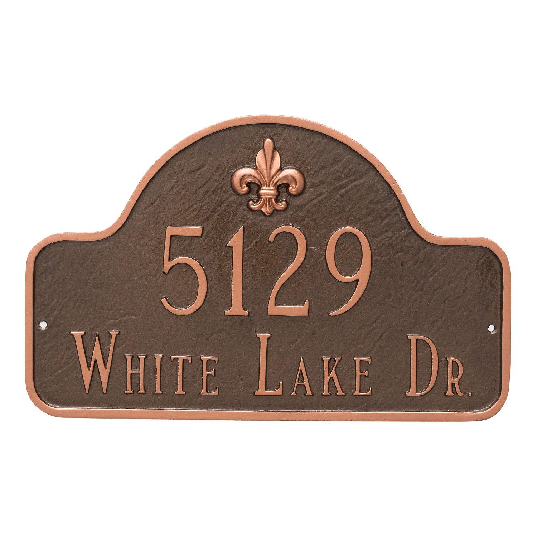 Montague Metal PCS-0062S2-W-WB 10.5'' x 15.75'' Fleur de Lis Lexington Arch Two Line Address Sign Plaque, Standard, White/Black