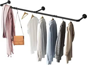 Greenstell Industrial Pipe Clothes Rack Wall Mounted,Space-Saving Iron Garment Rack Multi-Purpose,Detachable Rustic Hanging Shelves Black (3 Base)