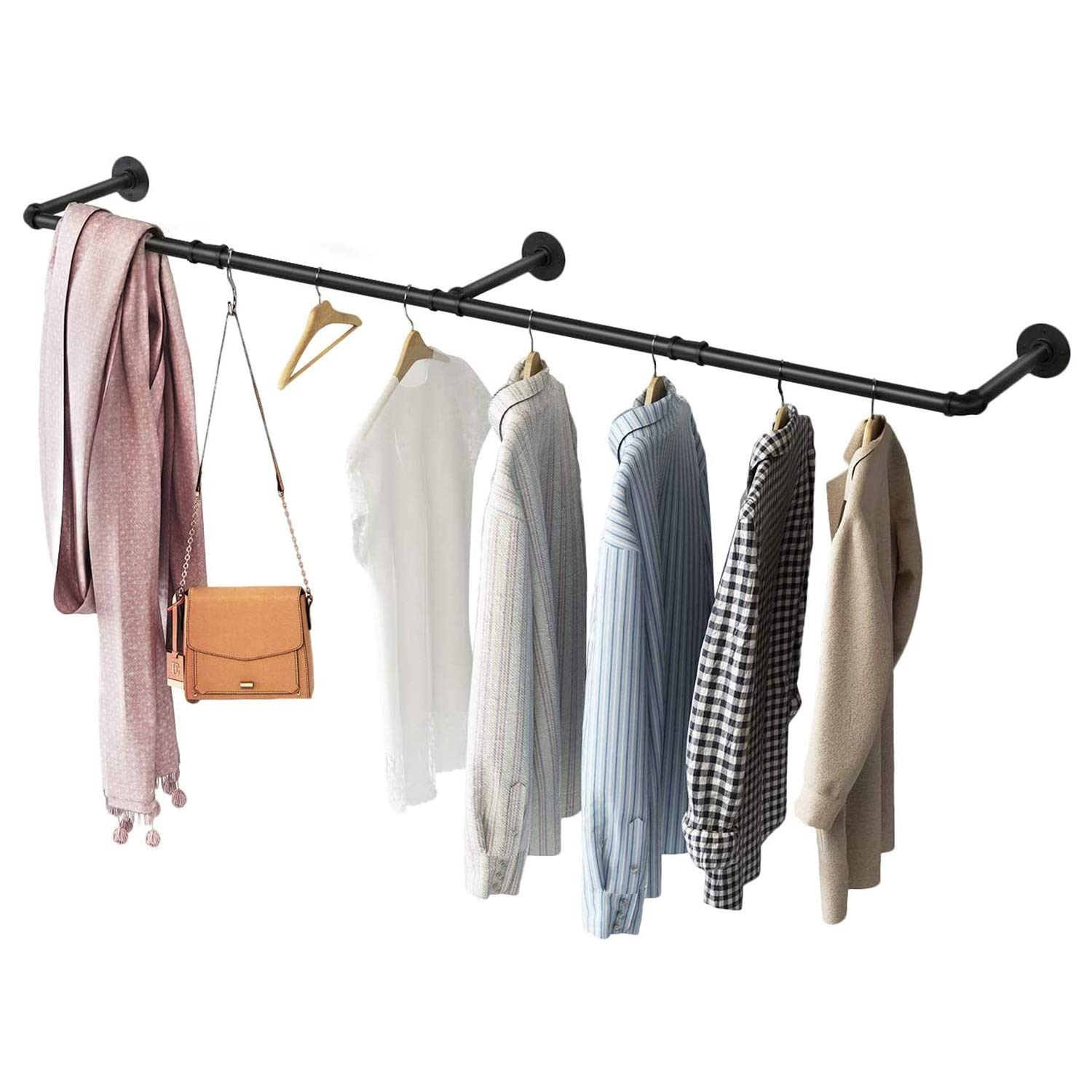 Greenstell Clothes Rack, Industrial Pipe Wall Mounted Garment Rack 67 in, Space-Saving Heavy Duty Hanging Clothes Rack, Detachable Garment Bar, Multi-Purpose Hanging Rod for Closet Storage 3 Base