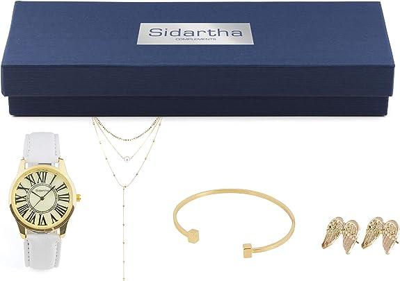 SIDARTHA Caja Regalo - Reloj, Pulsera y Complementos - Pack Regalo con Reloj, Pulsera, Colgante y Pendientes - Color Blanco y Dorado: Amazon.es: Joyería