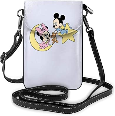 Mickey Mouse Lightweight Small Crossbody Bags Leather Cell Phone Purses Travel Pouch Shoulder Bag Wallet With Credit Card Slots for Women