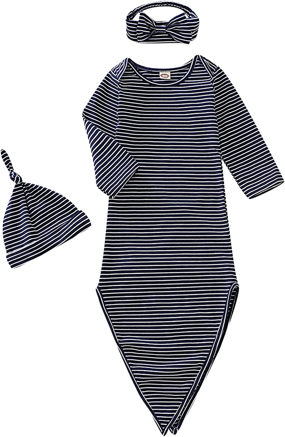Dramiposs Newborn Boys Girls Solid Color Nightgowns Infant Long Sleeve Outfit Striped Sleeper