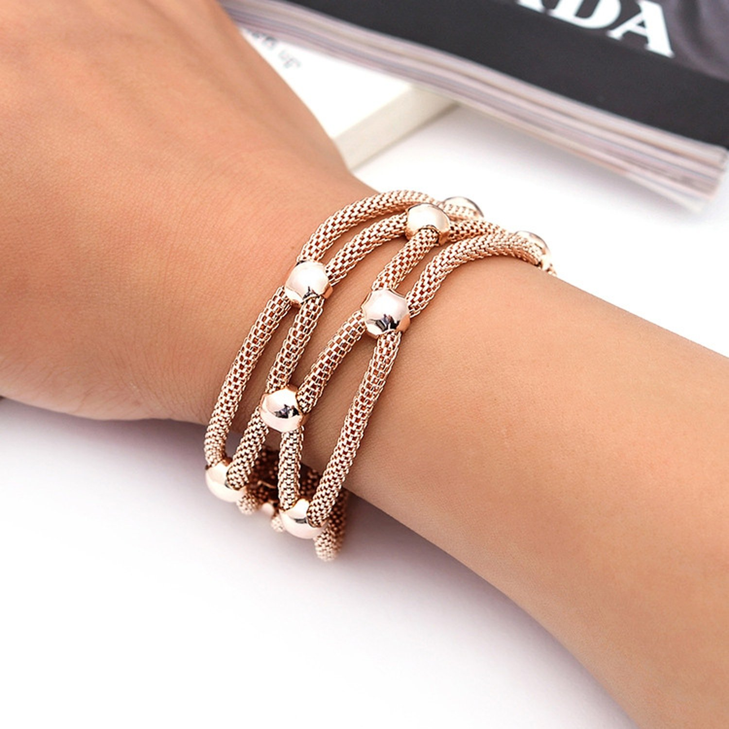 supply fashion simple hollow jewelry magnet buckle alloy rhinestone bracelet Yiwu Small Commodity,Rose gold
