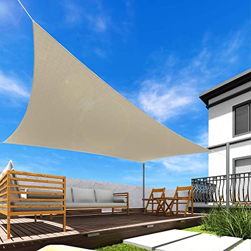Windscreen4less Sun Shade Sail Beige 19' x 24' Rectangle Patio Permeable Fabric UV Block Perfect