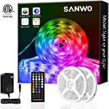 Sanwo Led Strip Lights with Remote, 32.8ft Dream Color LED Light Built-in IC, RGB SMD5050 Flexible Strip Lighting Music Sync,