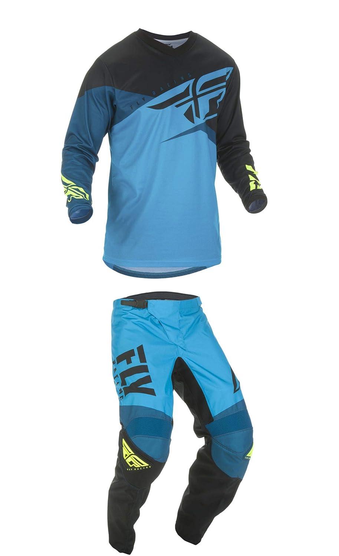 Fly Racing Mens F-16 Motocross In The Boot Pants/Jersey Set Blue/black/Hi-Vis (38W Pants/XL Jersey)