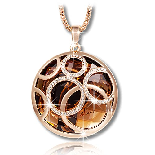 Qianse Golden Life Rolling Ball Brown Austrian Crystal Pendant Necklace with Rose Gold Long Chain