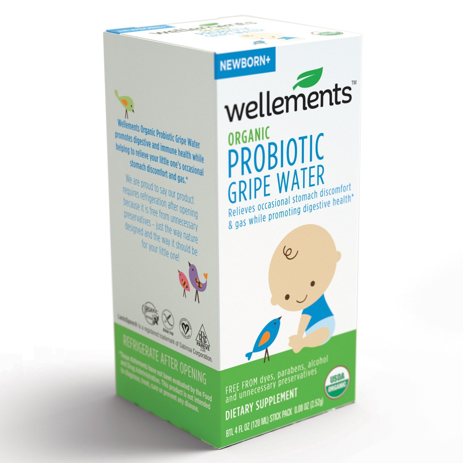 Wellements Organic Gripe Water for Tummy, 4 Fl Oz, 2 Count, Pediatrician Recommended to Ease Infant Stomach Discomfort and Gas Wellements L.L.C.