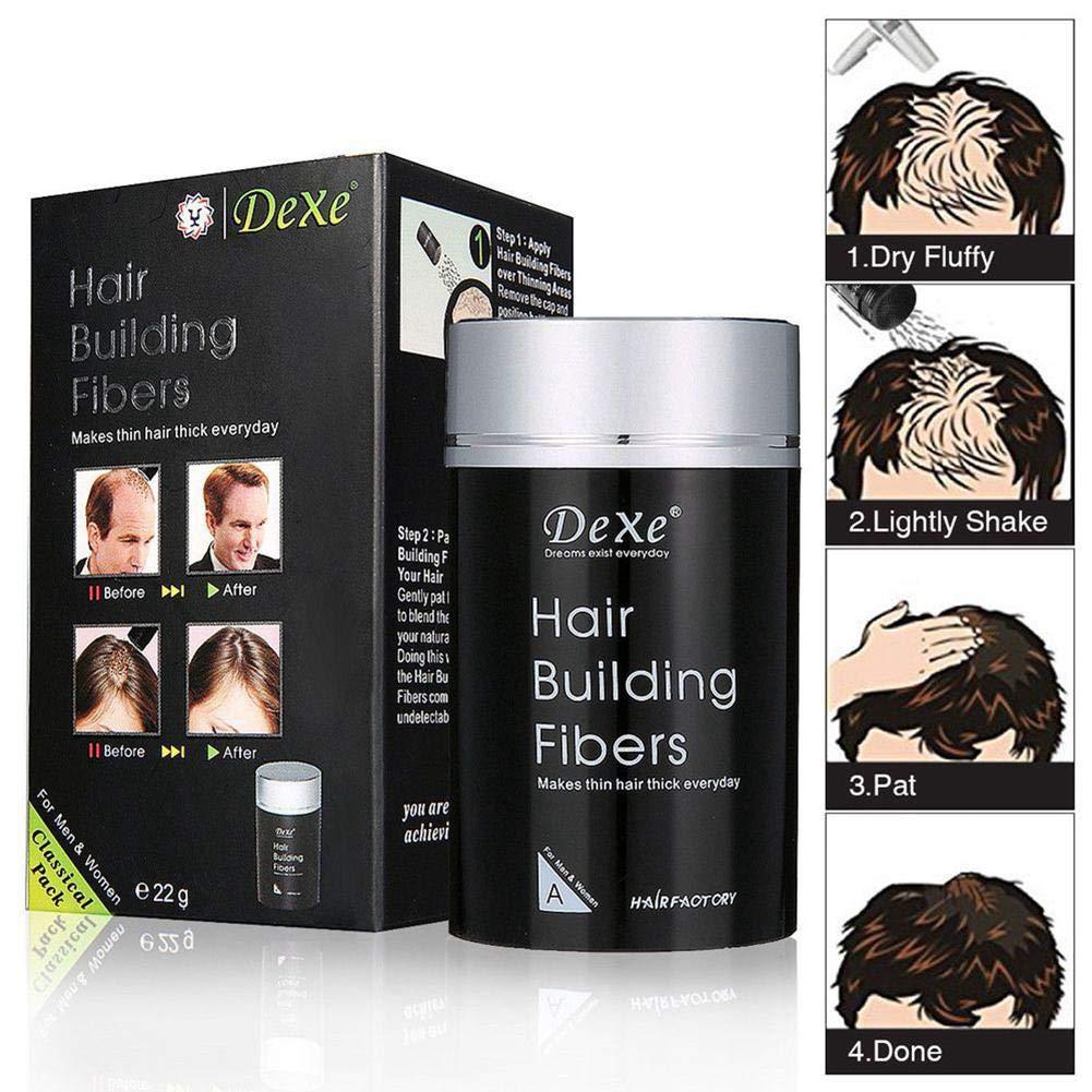 KOBWA - Fibras gruesas de pelo con queratina natural, corrector de pérdida de cabello, color negro: Amazon.es: Belleza