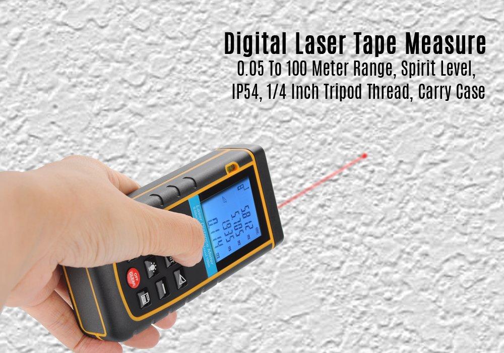 Generic Digital Laser Tape Measure - 0. 05 To 100 Meter Range, Spirit Level, IP54, 1/4 Inch Tripod Thread, Carry Case
