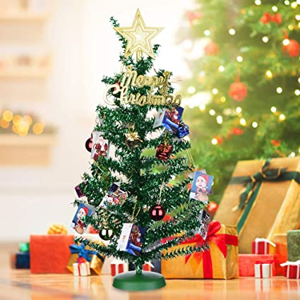 Traditional Christmas Tree.Mini Christmas Tree 18 Inches 45cm Artificial Tinsel Tree Xmas Tree With Christmas Decorations 20 Pcs Hanging Ornaments Decorated Christmas Tree