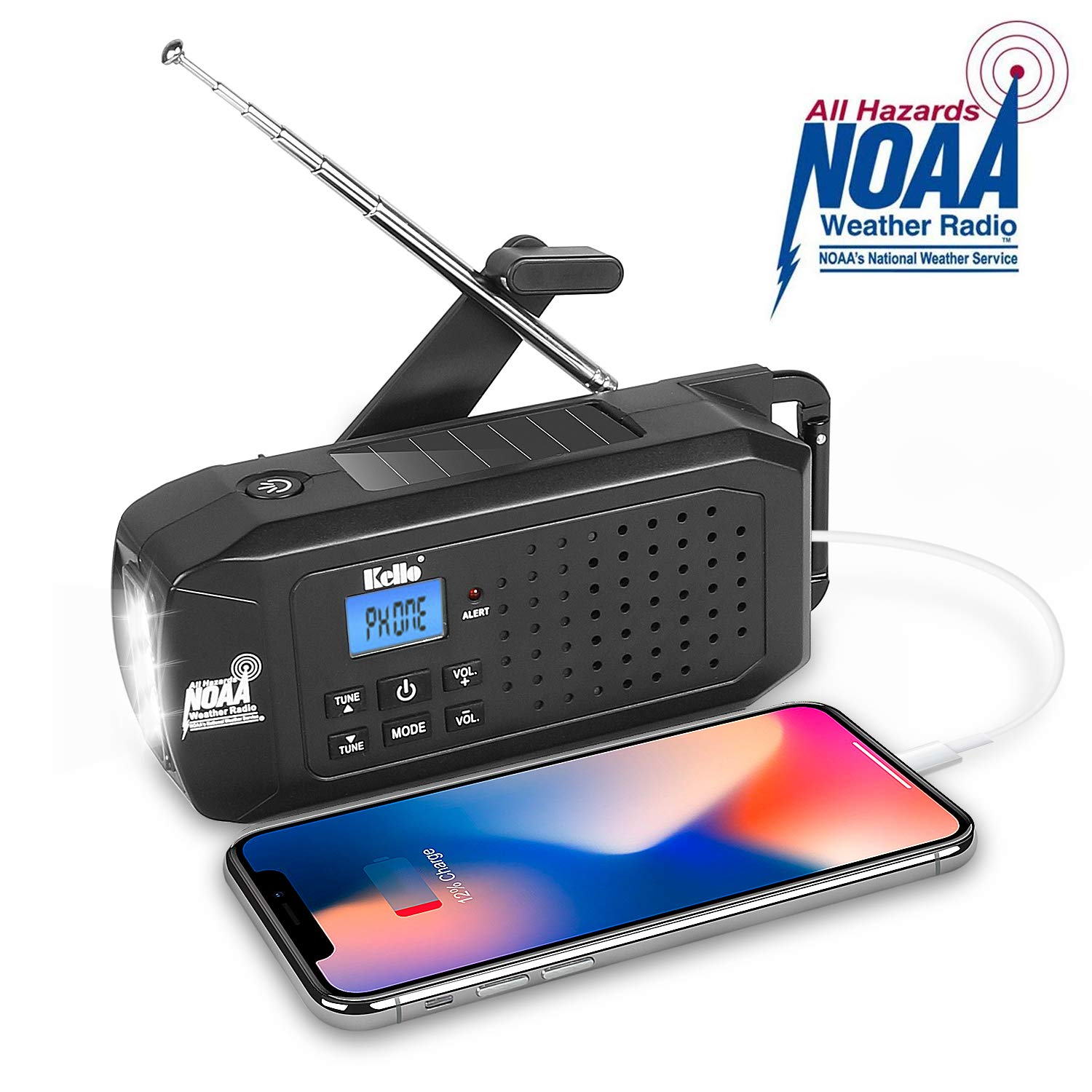 KELLO Emergency Solar Hand Crank Portable Radio, NOAA Weather Radio for Household and Outdoor Emergency with AM/FM/SW, LED Flashlight,2200mAh Power Bank USB Charger and SOS Alarm by Kello