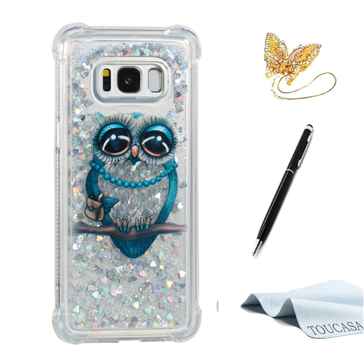 Funda Galaxy S8, TOUCASA Glitter Brillante Liquida Transparente TPU Silicona, Suave Gel Protectora Carcasa, Teléfono Smartphone Funda Móvil Case Líquido Quicksand Shock-Absorción Anti-arañazos Brillante Case Cover para Samsung Galaxy S8-Color Diamante LIUT