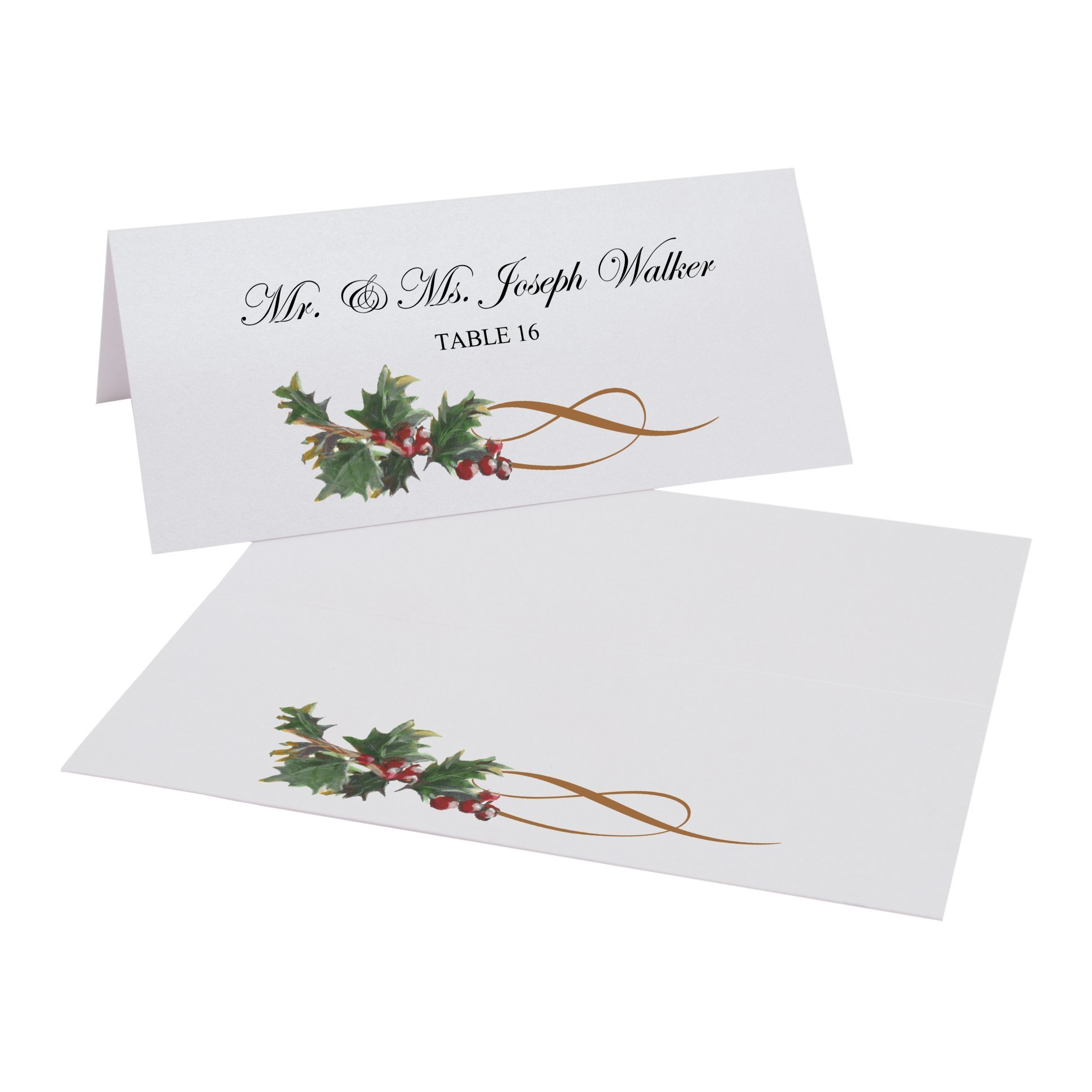 Holly Swirl Easy Print Place Cards, Pearl White, Set of 375 (94 Sheets) by Documents and Designs