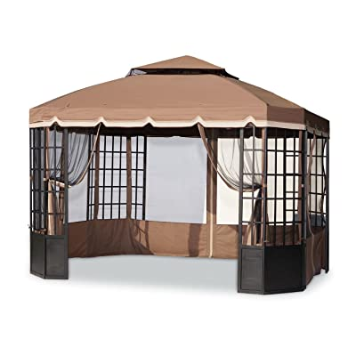 Sunjoy 110109134 Original Replacement Canopy (Deluxe Version) for Bay Window Gazebo (10X12 Ft) L-GZ120PST-2 Sold at Sears US, Brown: Garden & Outdoor