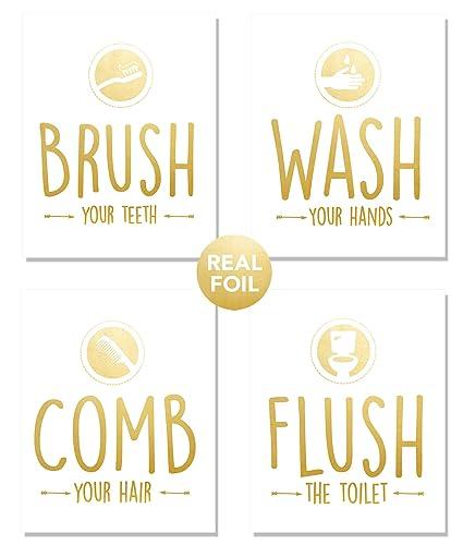 Amazon Com Bathroom Quotes 4 Set Rules Sayings Art Prints Gold